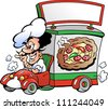 Hand-drawn Vector illustration of an Italian pizza delivery car - stock vector