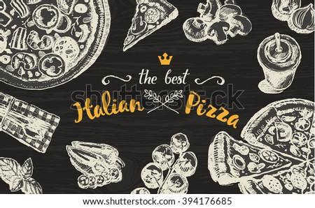 Hand drawn vector illustration of an Italian pizza on a blackboard, sketch - stock vector