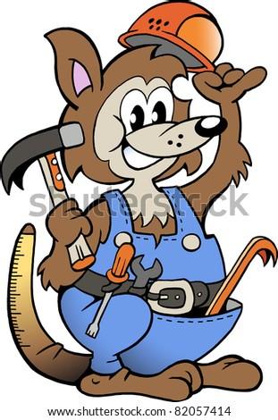 Hand-drawn Vector illustration of an Kangaroo Handyman - stock vector