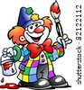 Hand-drawn Vector illustration of an Painting Clown - stock photo