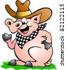 Hand-drawn Vector illustration of an Pig Chef that Welcomes - stock vector