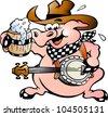 Hand-drawn Vector illustration of an pig playing banjo - stock vector