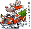 Hand-drawn Vector illustration of an Reindeer Driving Car - stock photo
