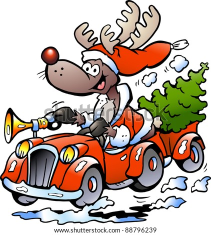 Hand-drawn Vector illustration of an Reindeer Driving Car - stock vector