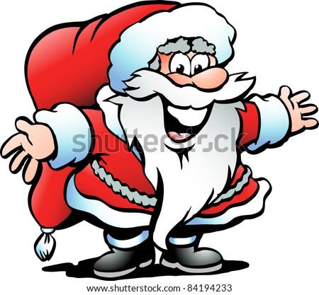 Hand-drawn Vector illustration of an Santa Claus - stock vector
