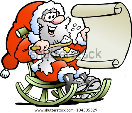 Hand-drawn Vector illustration of an Santa Claus looks on his wish list - stock vector