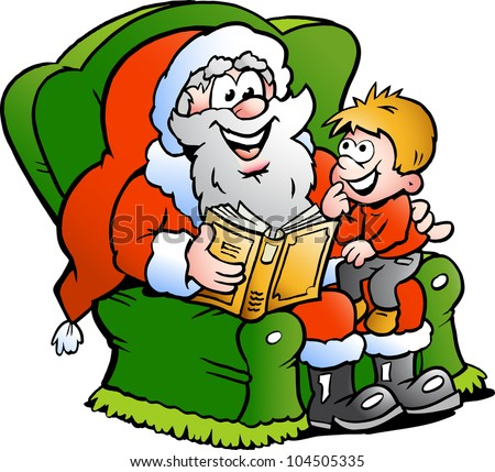 Hand-drawn Vector illustration of an Santa Claus tells a story to an little boy - stock vector