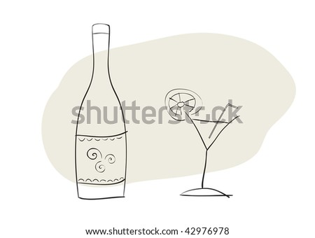 Hand-drawn vector illustration of bottle and cocktail glass - stock vector