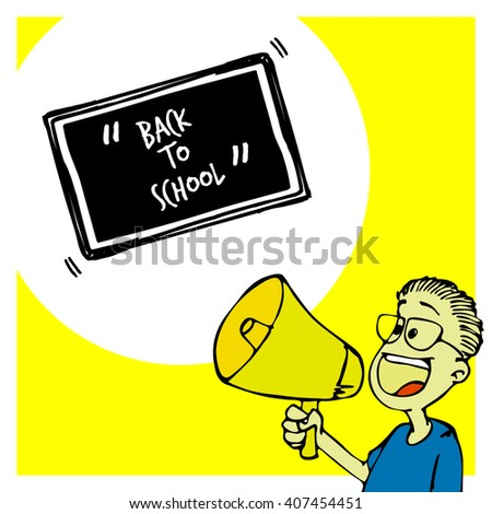 hand drawn vector illustration of boy holding megaphone telling about back to school - stock vector