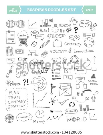 Hand drawn vector illustration of business doodles elements. Isolated on white background - stock vector