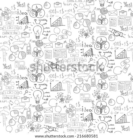 Hand drawn vector illustration of business strategy, brainstorming and website development doodles elements. Isolated on white background. - stock vector