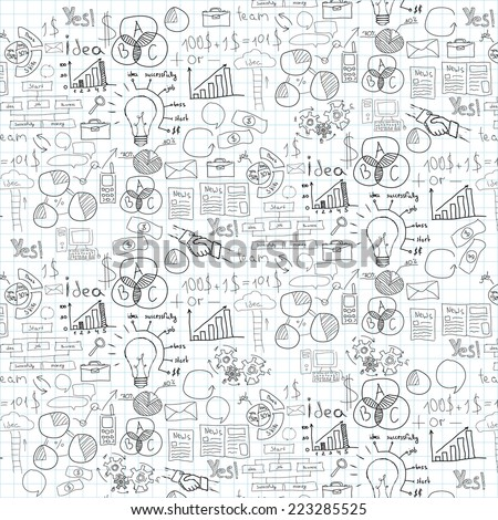 Hand drawn vector illustration of business strategy, brainstorming and website development doodles elements.  - stock vector