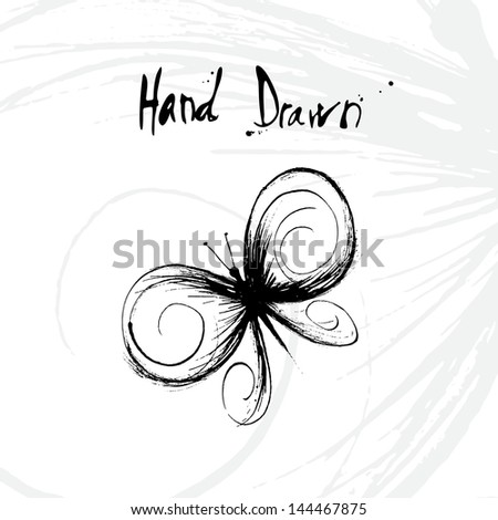 Hand drawn vector illustration of butterfly with space for copy text - stock vector