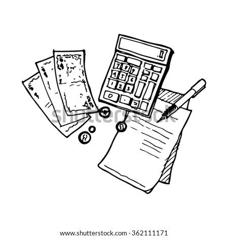 hand drawn vector illustration of calculator