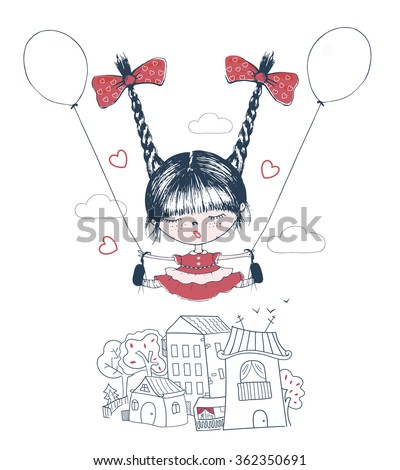 hand drawn vector illustration of cut girl with balloons/happy girl/little girl/ cute girl/flying girl/ jumping girl/ shirt design - stock vector