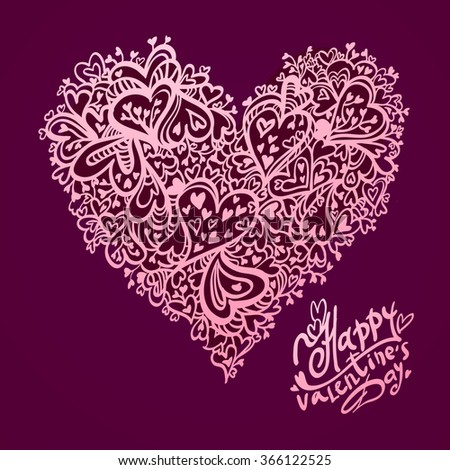 Hand drawn vector illustration of decorative heart for happy Valentine's day. Heart ornament element for romantic and wedding designs. Pattern of hearts. Happy Valentine's day text congratulation.  - stock vector