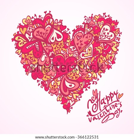 Hand drawn vector illustration of decorative heart for happy valentine's day isolated on white background. Heart ornament element for romantic and wedding designs. Pattern of hearts.  - stock vector