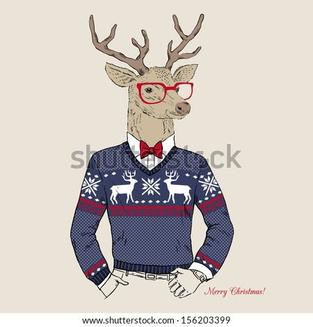 Hand Drawn Vector Illustration of Deer Hipster in Jacquard Sweater, Merry Christmas Card - stock vector
