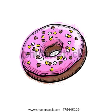 Hand drawn vector illustration of donut.  Isolated on white background