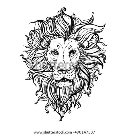 hand drawn vector illustration doodle lion stock vector 490147537 shutterstock. Black Bedroom Furniture Sets. Home Design Ideas