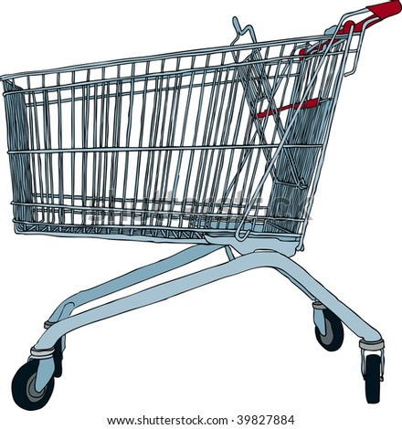 Hand drawn vector illustration of empty shopping trolley - stock vector