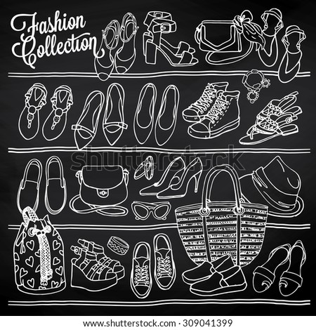 Hand drawn vector Illustration of female fashion accessories on chalkboard. Side view of shoes and bags on shelf. Black and white sketch - stock vector