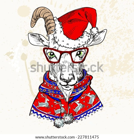 Hand Drawn Vector Illustration of goat hipster in a sweater with glasses. Merry Christmas Card