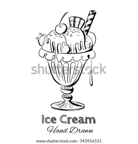 Hand drawn vector illustration of ice cream. Vintage template for business card and banner. - stock vector