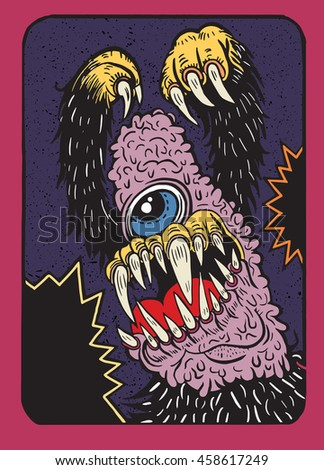 Hand Drawn Vector Illustration of monster ,doodle style