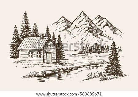 House Mountain Landscape Hand Drawn Vector Stock Vector ...