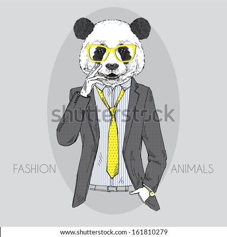 Hand Drawn Vector Illustration of Panda smoking cigarette in colors - stock vector
