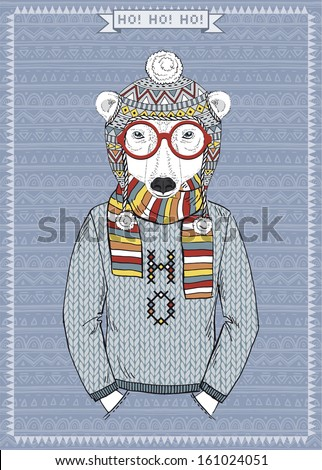 Hand Drawn Vector Illustration of Polar Bear Hipster, Greeting Card - stock vector