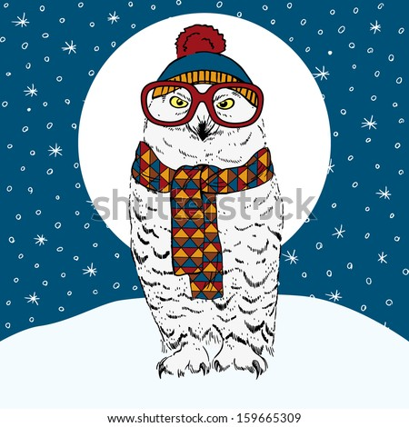Hand Drawn Vector Illustration of Polar Owl in Knitwear and Big Glasses on Winter Background - stock vector