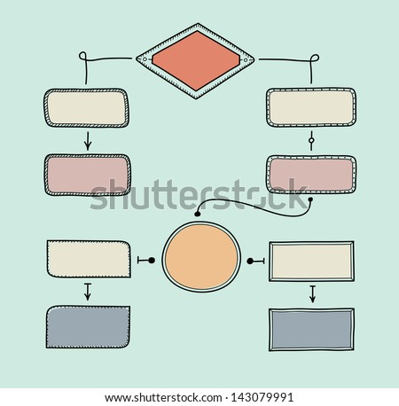 Hand drawn vector illustration of retro flowchart with space for your text. Isolated on turquoise background - stock vector