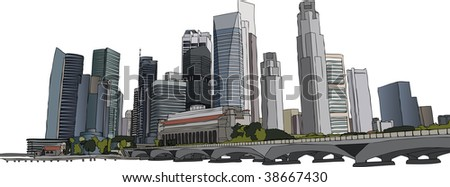 Hand drawn vector illustration of Singapore skyscrapers - stock vector