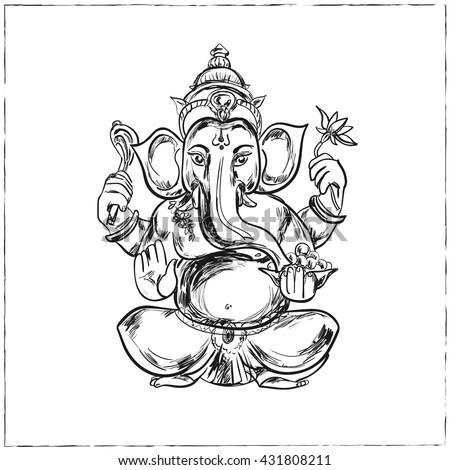 Hand drawn vector illustration of Sitting Lord Ganesha in Mandala Frame. For Tattoo, yoga, spirituality. - stock vector