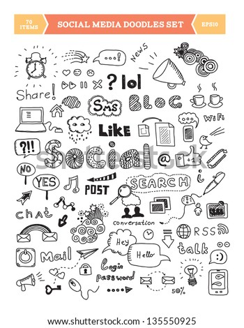 Hand drawn vector illustration of social media doodles elements. Isolated on white background. - stock vector