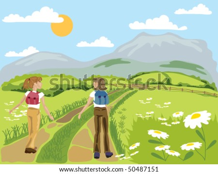 hand drawn vector illustration of two young women chatting while enjoying hiking through green fields towards distant mountains - stock vector