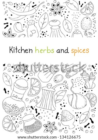 Hand drawn vector illustration of various kitchen herbs and spices doodles elements. You can find full drawing elements under white field. Isolated on white background - stock vector