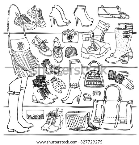 Hand drawn vector Illustration of woman fashion accessories. Side view of shoes and bags on shelf. Fall and winter shoes, boots black and white sketch.   - stock vector