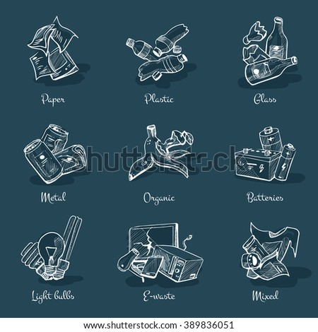 Hand drawn vector illustration on chalk board. Sketch of trash categories with organic, paper, plastic, glass, metal, e-waste, batteries, light bulbs and mixed waste.  - stock vector