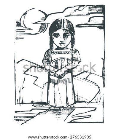 Hand drawn vector illustration or drawing of an indigenous girl in a natural landscape