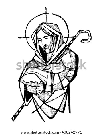 Hand drawn vector illustration or drawing of Jesus Christ as Good Shepherd - stock vector