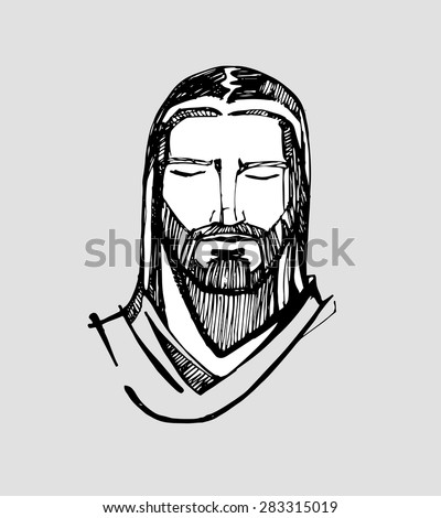 Hand drawn vector illustration or drawing of Jesus Christ face in a concentrated expression - stock vector