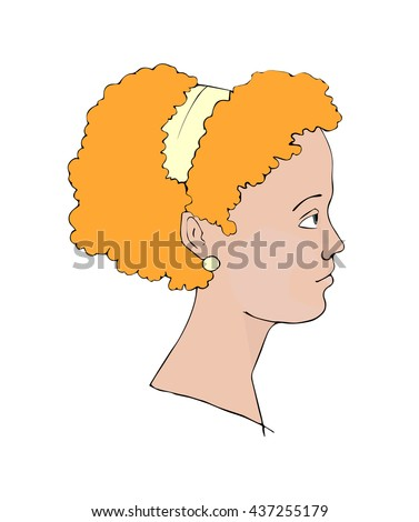 "Hand drawn vector illustration ""Profile portrait of a girl with curly red hair"""