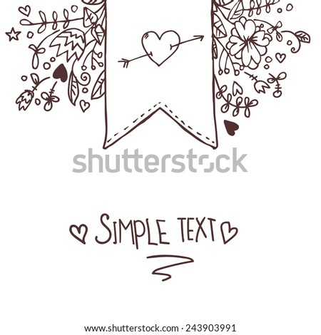 Hand drawn vector illustration. Romantic sketch with ribbons, hearts, flowers, arrows and wreaths.  - stock vector