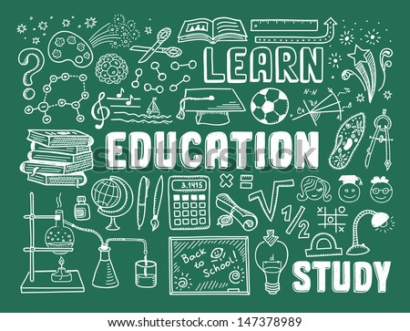 Hand drawn vector illustration set of education and learning doodles with school objects and items. Isolated on green background - stock vector
