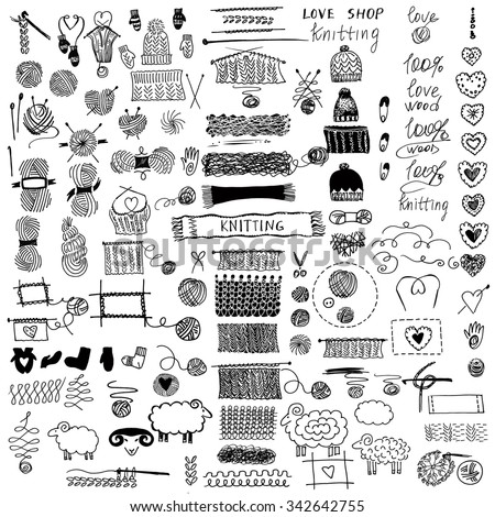Hand drawn vector  illustration. Set of knitting and crafts.Knit and Crochet. Hat and Snood, mittens and socks. - stock vector