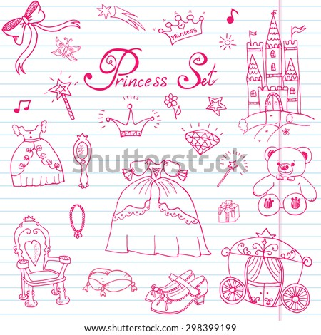 Hand drawn vector illustration set of princess sign, Castel, throne and carriage, magic wand, mirror, stuffed toy, croun and jewlery, cute items doodles elements - stock vector
