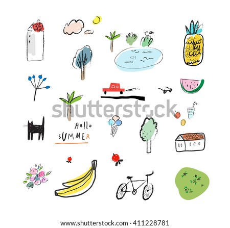 Hand drawn vector illustration set of travel, tourism and summer doodles elements. Isolated on white background. - stock vector